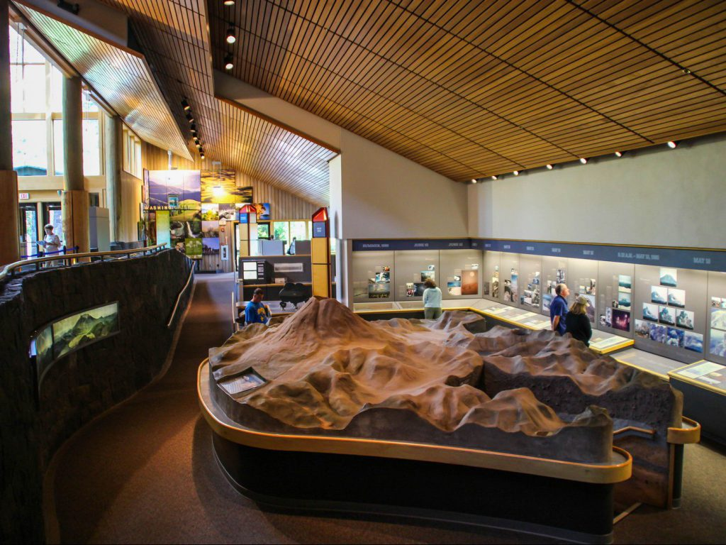 interior of exhibition volcano Mount St Helens Visitor Center United States