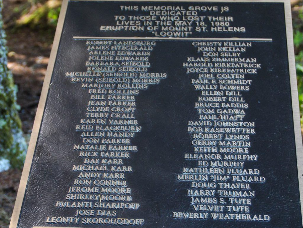 memorial with names of victims at forest Memorial Grove Havilah Retreat Center Mount St Helens