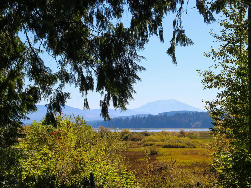 view of landscape and Silver Lake volcano Mount St Helens Washington United States