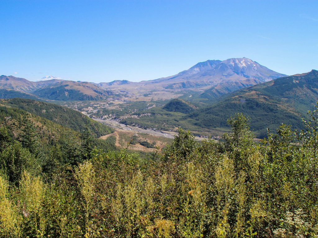 view of volcano Mount St Helens and valley with trees Elk Rock viewpoint