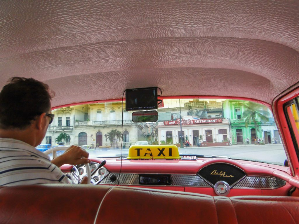 driver behind the wheel taxi old-timer Havana
