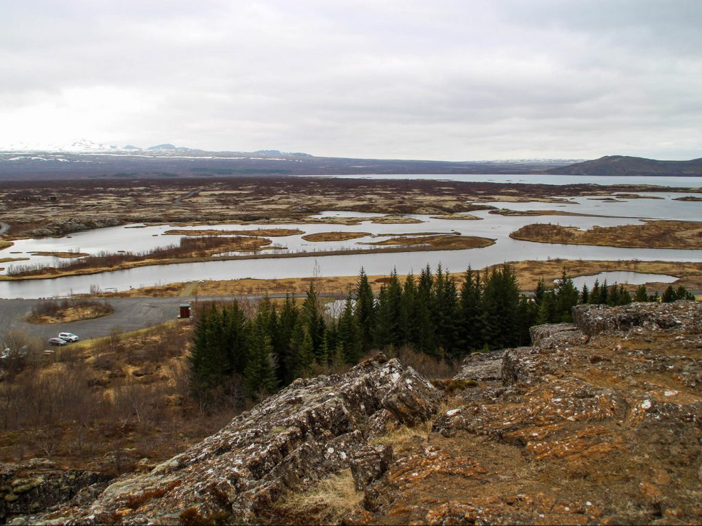 view from Hakid at Thingvallavatn lake and snowy mountain peaks Thingvellir National Park