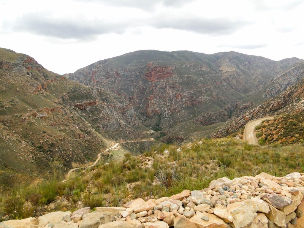 View of mountains and hairpin bends at Swartberg Pass South Africa
